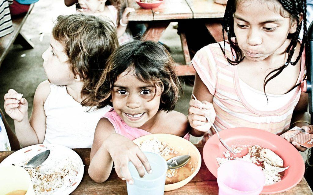 orphans, kids, eating